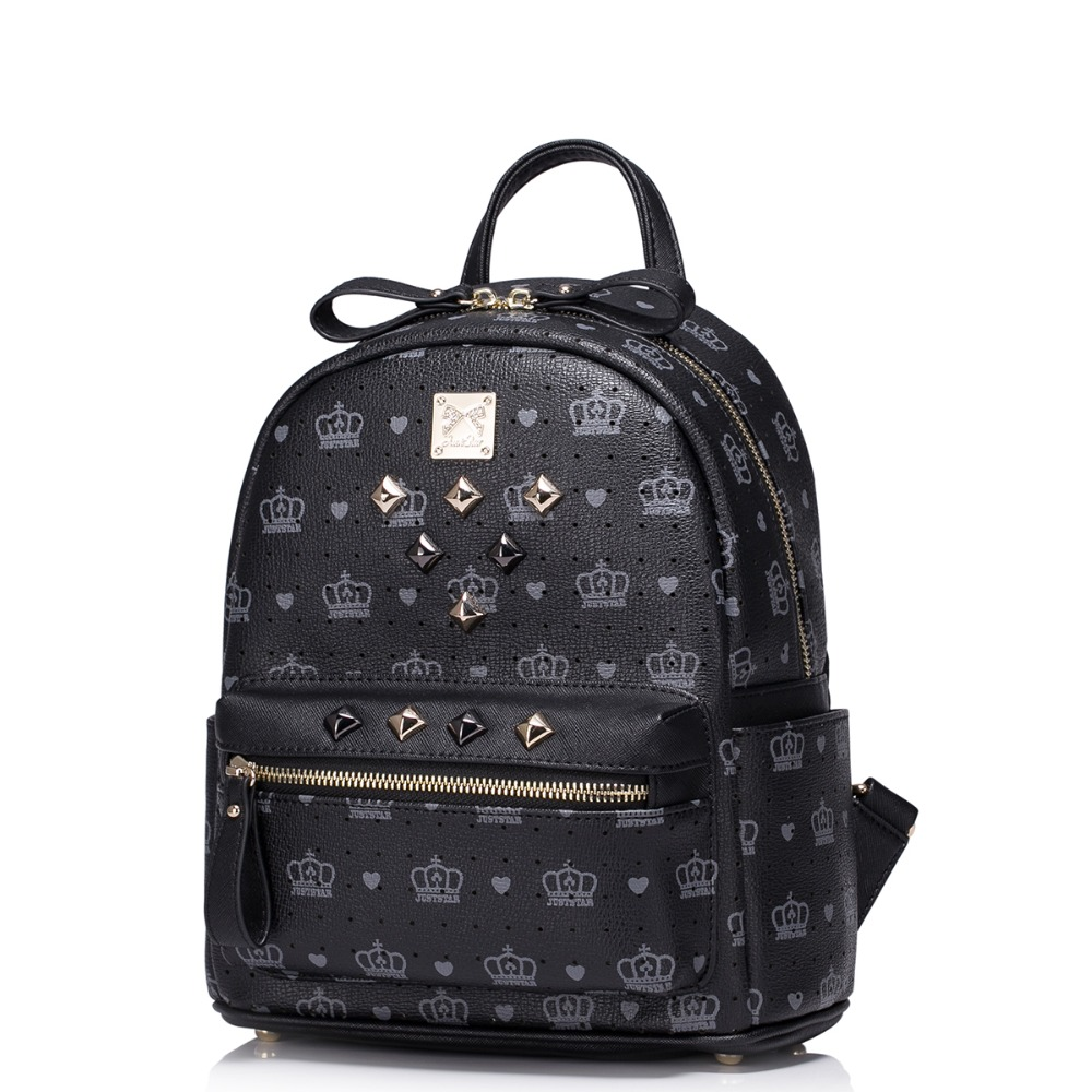 Women Crown Print Rivet Rock Style Leather Backpack ...