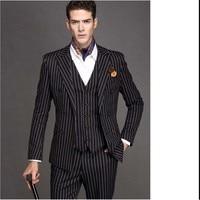 Groomsmen Peak Lapel Groom Tuxedos Black with White Stripe Men Suits Wedding Best Man Blazer (Jacket+Pants+Tie+Vest) B940