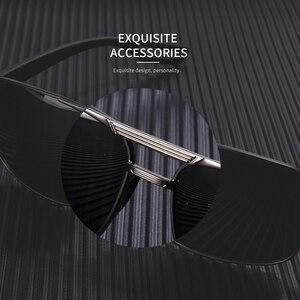 Image 5 - AOFLY 디자인 남자 편광 된 선글라스 금속 남자의 태양 안경 운전 광장 음영 Oculos masculino 남성 안경 고글 AF8194