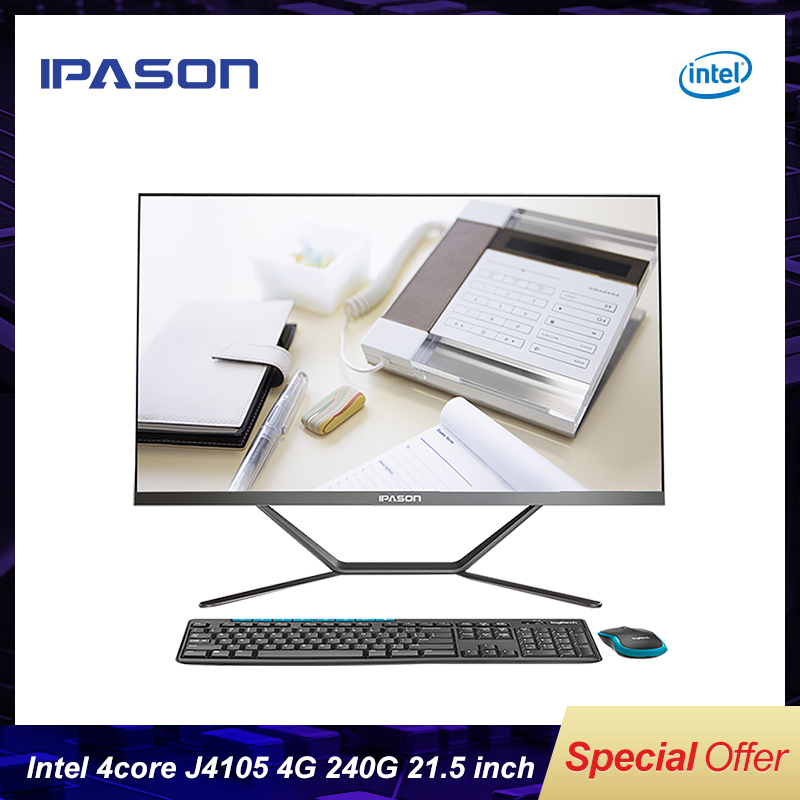 IPASON all in one PC 21.5 inch Intel 4 Core 4G DDR4 RAM 240G SSD Narrow bordered Black mini PC WIFI Bluetooth