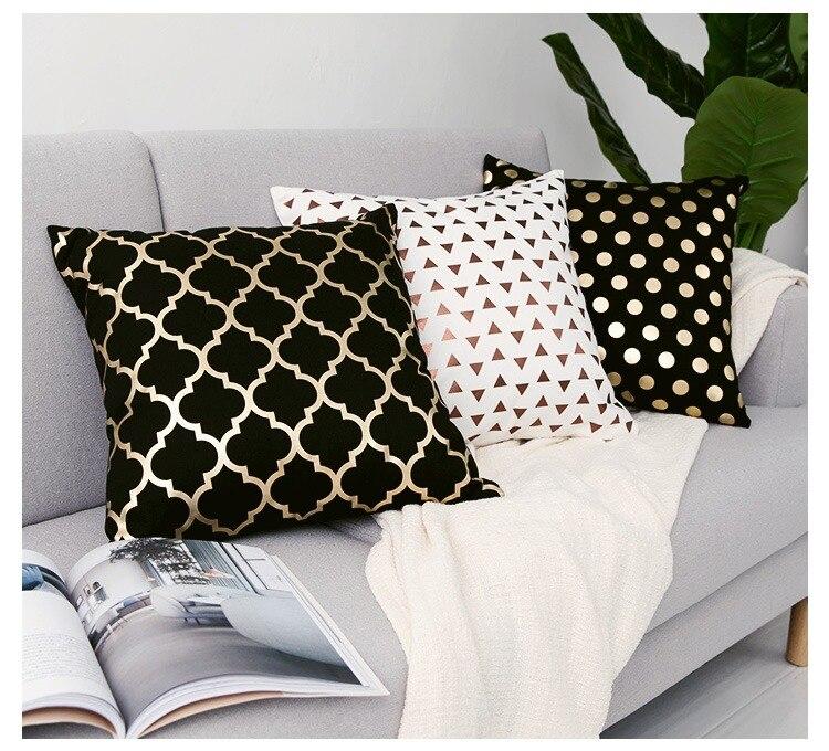 HTB1WrA4PIfpK1RjSZFOq6y6nFXaO Black Golden Leaves Cushion Brozing Gold Foil Cushion Decorative Pillows Home Decor Throw Pillow Almofadas Decorativas Para Sofa