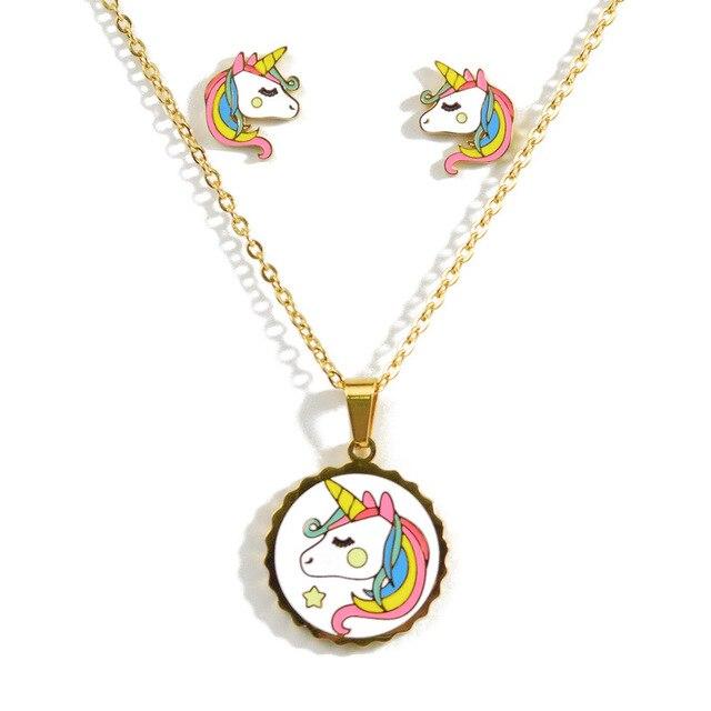2020 del fumetto Sveglio Rosa Cavallo Unicorno Disegno Dello Smalto Dellacciaio Inossidabile di Colore Delloro Collane orecchini Set Gioelleria Raffinata E Alla Moda Regalo Dei Capretti