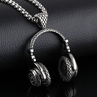 Hip Hop Jewelry Men Necklace Stainless Steel Music Headphone Pendant Necklaces 2018 Fashion Cool Gifts Mens Jewellery Collier 3