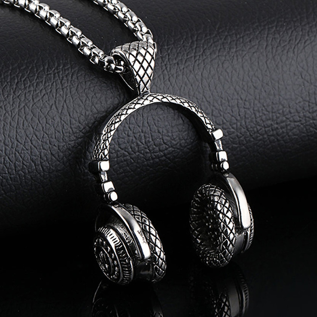 Men's Stainless Steel Headphone Necklace