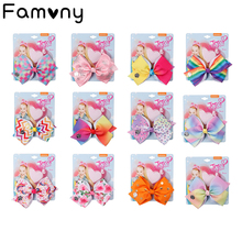 Hair Bows Set Rainbow  Printed Hair Bows Grosgrain Ribbon Hairpins Handmade Bowknot Girls Princess Party Hair Accessories цена в Москве и Питере