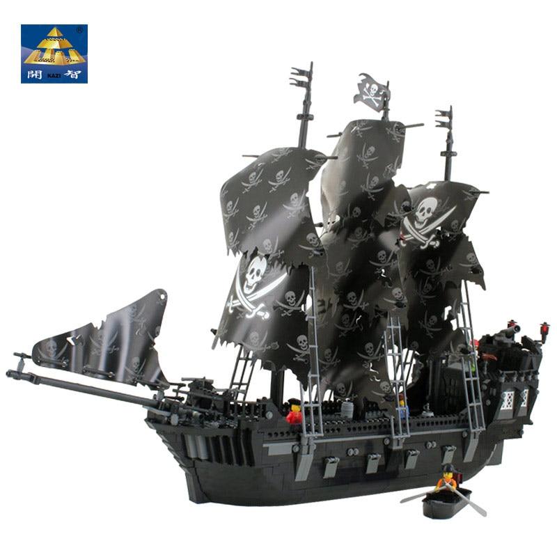 все цены на KAZI Pirates Kingdom The Black Boat 87010 Building Block Sets 1184+pcs Bricks Ship Educational DIY Toys for children legoingly