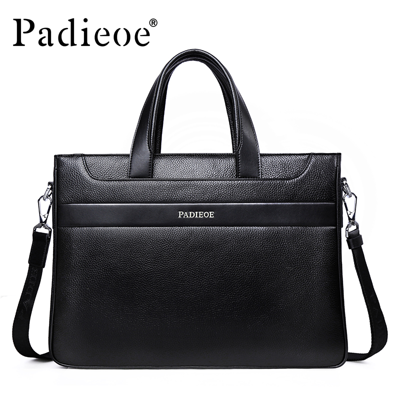 Padieoe Fashion Luxury Brand Men Handbag Shoulder Bags Genuine Leather Bag Business Men Briefcase Laptop Bag padieoe luxury men bag split leather classic business men briefcase laptop bags brand handbag