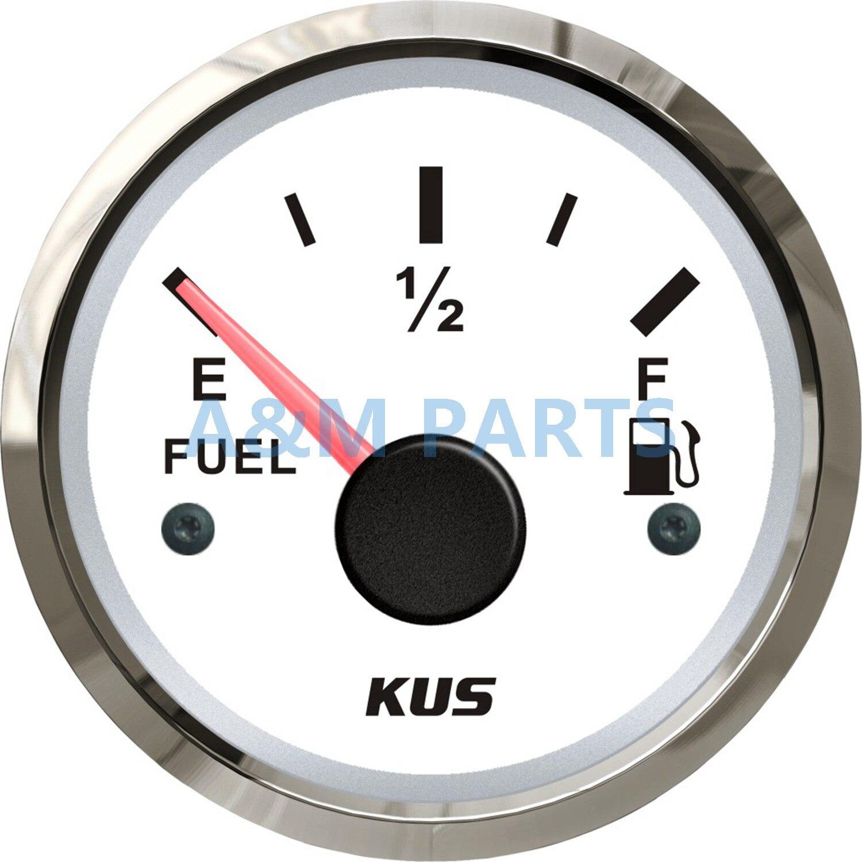 KUS Marine Fuel Tank Gauge Boat Oil Tank Level Indicator 12/24V 52mm 0-190ohms