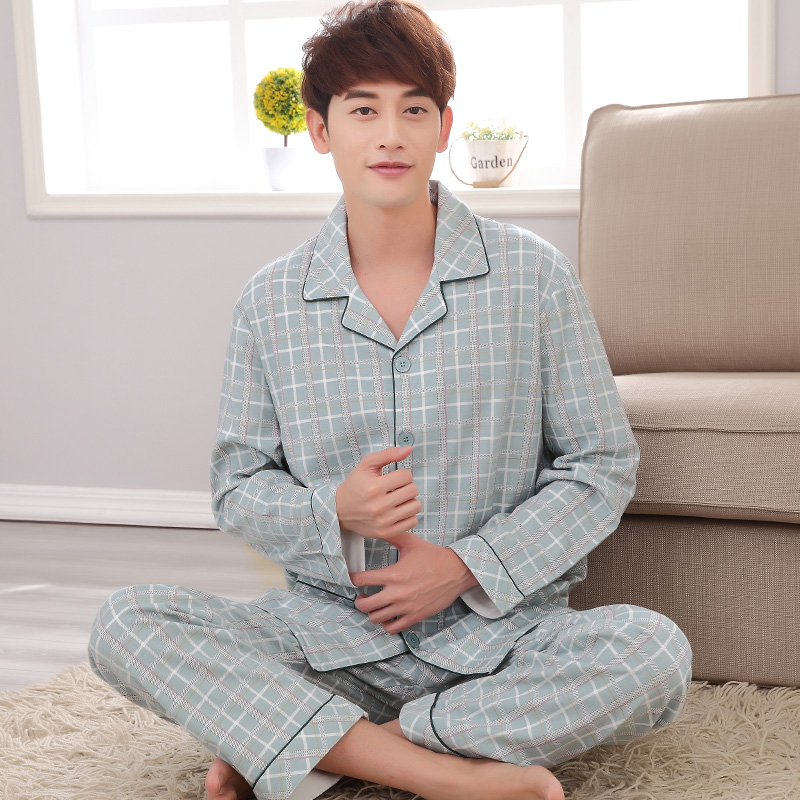 2018 Fall and Winter Mens Pajamas Sets male Fashion Casual Thicken Sleepwear fress green  Mens Clothing Large Size pure cotton