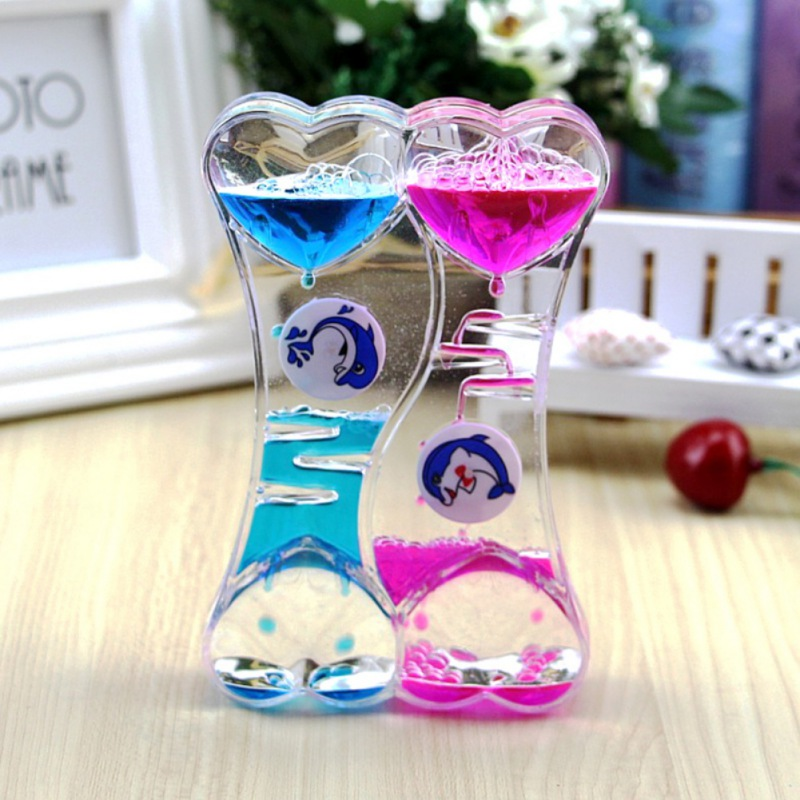 Fun Colorful Glass Figurines Hourglass Clock Double Heart Type Drip Oil Leakage Valentine s Day Gift Fun oil leak timer