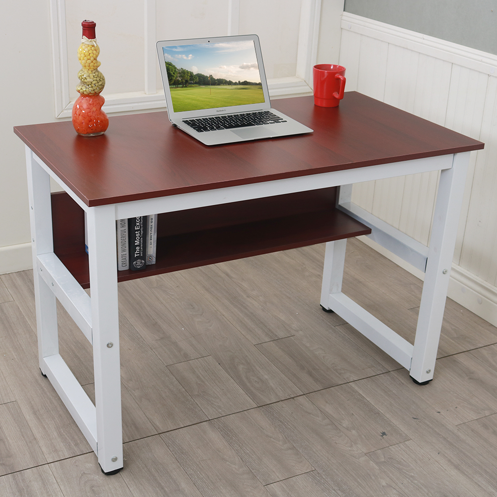 Modern Fashion Home Office Laptop Table 110cm Wooden Computer Desk Lightweight High Quality Desktop With Storage Rack