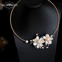 GLSEEVO Handmade Natural Fresh Water Pearl Flower Choker Necklace For Women Wedding Party Jewelry Kolye Collier Femme GN0087