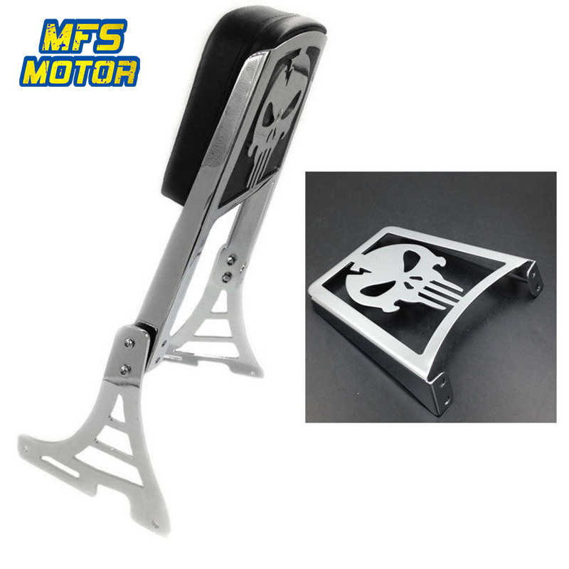 For Harley 2004up XL883 XL1200R/C/S Motorcycle Rear Steel Skull Flame Backrest Passenger Sissy Bar Cushion Leather Pad Chrome
