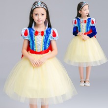 GuaGuaEgg 2016 Girls Hallowmas Stage Dresses Snow White Performing Dress Detachable Sleeve Party Princess Full Dress