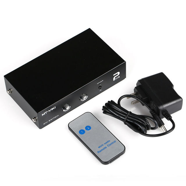 MT VIKI 2 Port DVI Switch Box 2 in 1 out IR Remote Control PC Video ...