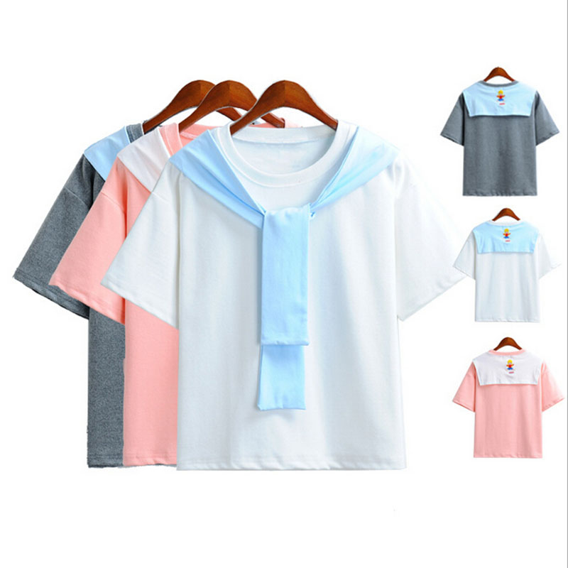 Kawaii Sweet T Shirts 2016 Summer Korean Wild Sweet Harajuku Little People Print T Shirt Slim