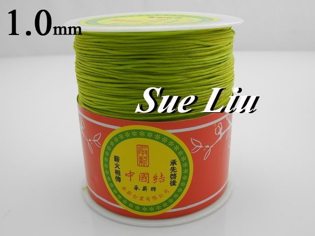 1mm Apple Green Chinese Knot Beading Nylon Cord, 328yd/spool, 328yds=300m=984ft, NCNA-231