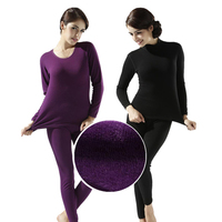 2018 winter new women's thick velvet high collar cotton thermal underwear sets Ms. thick warm long johns plus size women longies