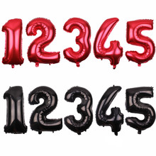 JF  new 32 inch red - black number Balloons happy birthday Wedding Party decorative balloon wholesale