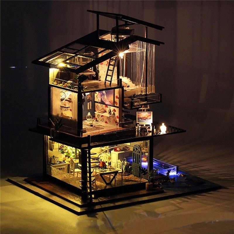 Новый DIY Валенсия прибрежных вилла для кукол миниатюрный дом мебель комплект детский подарок Модель Строительство Наборы прочное качество