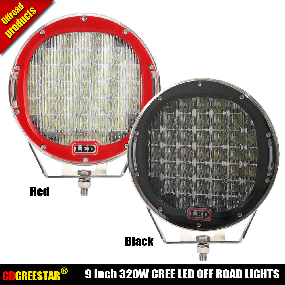 Round 320W 9inch Led Off road lights with cover IP67 High power super bright led driving lights For Night Light x1pc Free ship free shipping super wide u shape aluminum anodized profile for led strips with cover and end caps for dual row led strip
