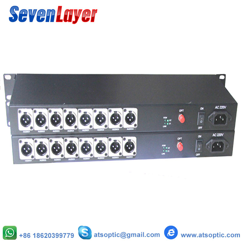 8CH Balanced Audio To Fiber Optic XLR Balanced  Audio Over Fiber Audio Digital Fiber Media Converter Transceiver And Receiver