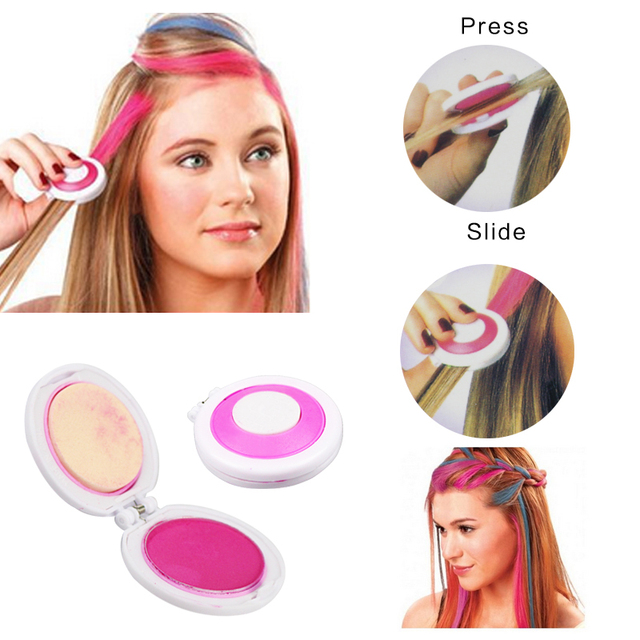 Temporary Hair Chalk Set Of 4 Colors Dye Hair Powdery Cake Powder