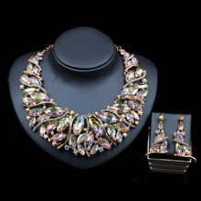 2018 Vintage style jewelry set African beads necklace and drop earrings jewelry set for wedding bride