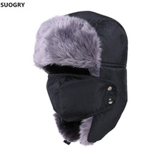 Winter Hat Bomber Hats For Men Women Thicken Balaclava Cotton Fur Wint