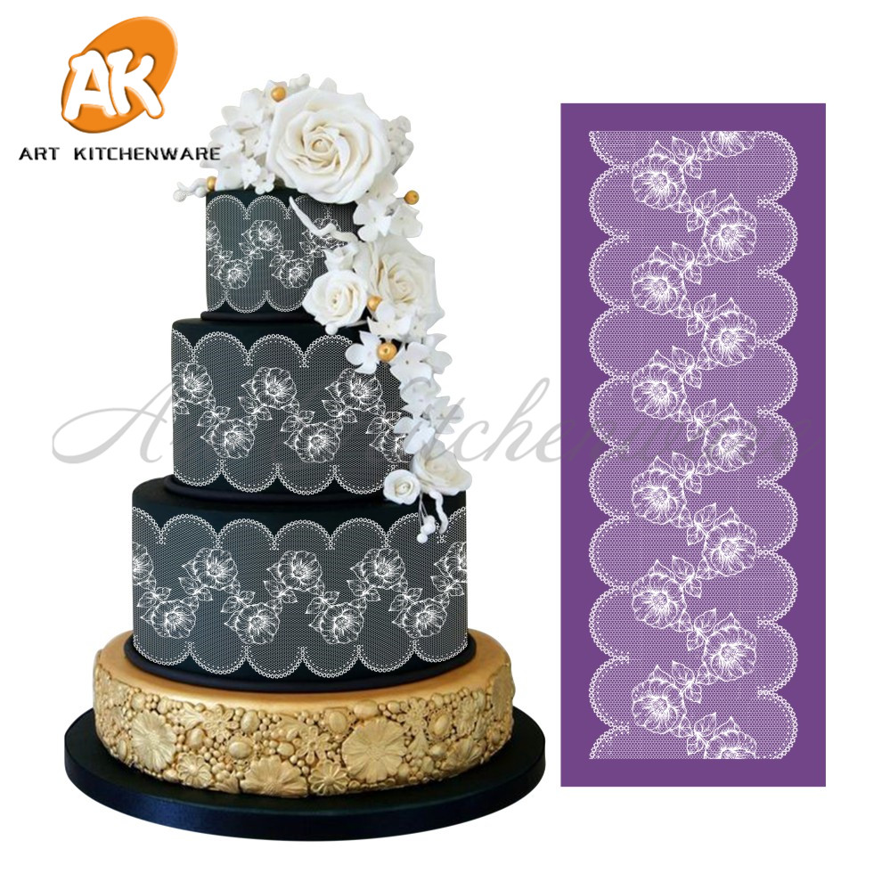 Cake fondant blumen mesh stencil cake stencil template for Lace templates for cakes