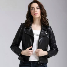 2015 Autumn Winter New Style Leather Jacket Women Coat Classic Black Lapel Criss-Cross Slim Short Coats Ladies Leather Jackets