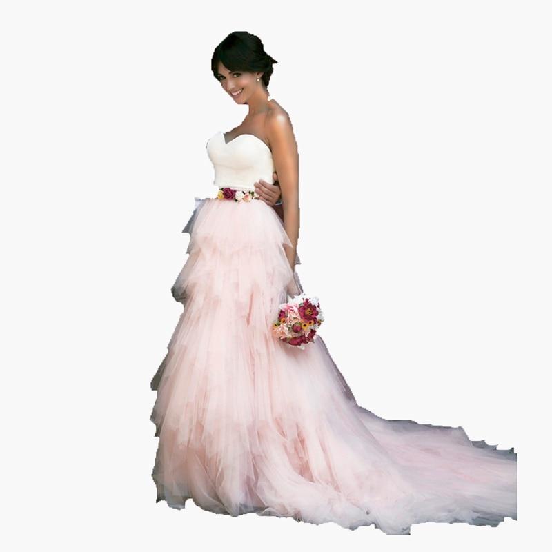 Модная элегантная романтичная длинная фатиновая юбка, сделанная на заказ, женская розовая однотонная Свадебная юбка 2017, длинная юбка пачка,... - 2