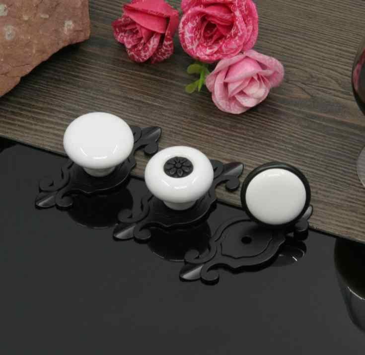 LCH Krem Beyaz Dolap Donanım Antik Stil seramik düğmeler Bahçe Avrupa Tarzı Porselen Çekmece Kapı Çekme Seramik Kolu
