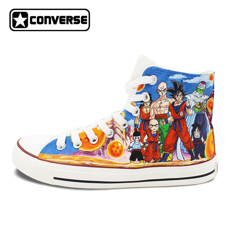 Unique Sneakers Women Men Converse All Star Anime Dragon Ball Family Figures Collection Design Hand Painted Shoes Christmas Gift sneakers men women converse all star anime fairy tail galaxy design custom hand painted shoes man woman christmas gifts