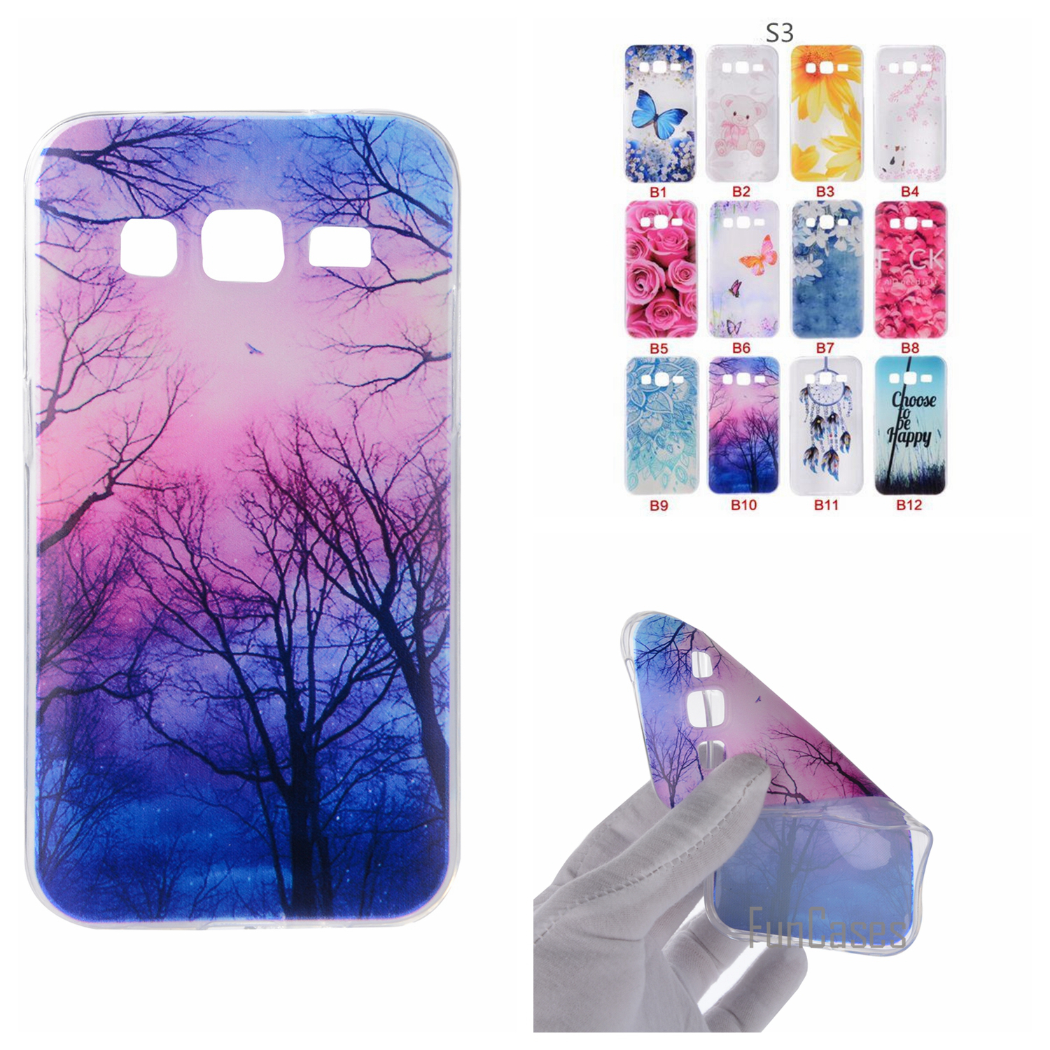 Cartoon Flower Butterfly Tree Painted Back Cover Silicon Gel Soft TPU Mobile Phone Case For Samsung Galaxy S5 S4 S3 S6 S7 Edge