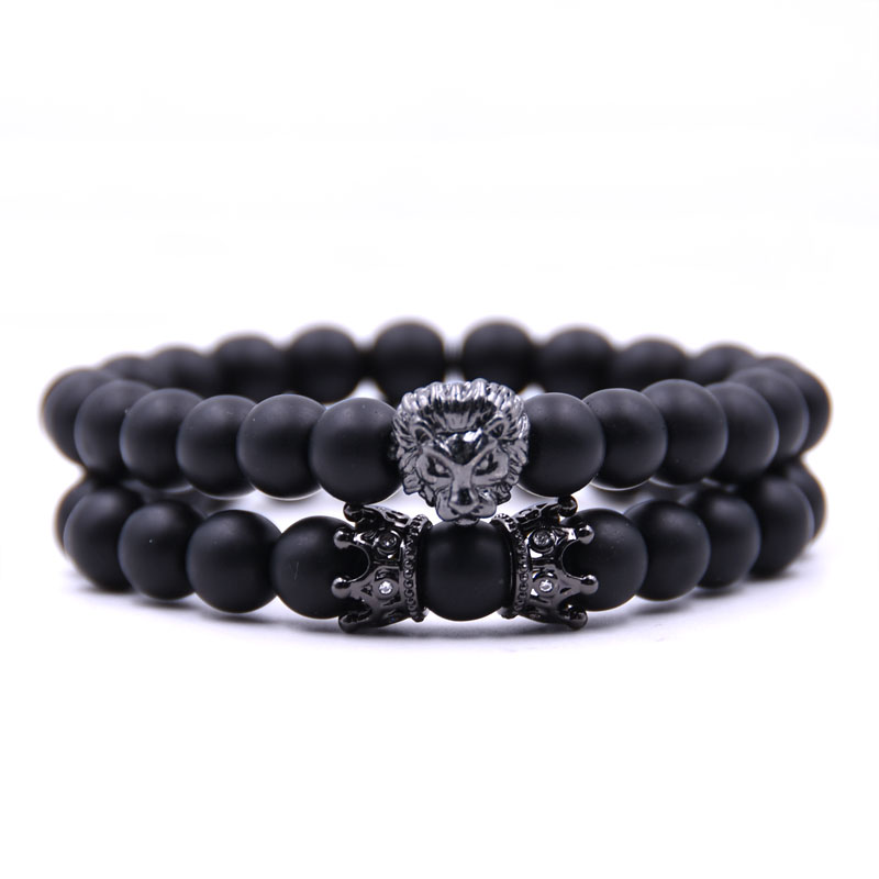 HONEYYIYI 2pcs/set Natural stone Matte beads Bracelet