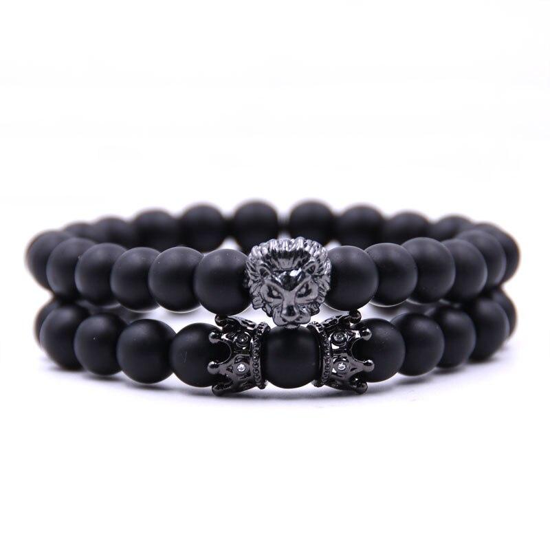 HONEYYIYI 2pcs/set Natural stone Matte beads Bracelet Men Copper Lion head CZ Crown Men jewelry Elasticity Bracelets pulseiras