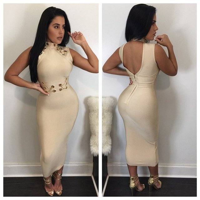 83346b6f3047 Top Quality Black Khaki Blue Knee Length Hollow Out Rayon Bandage Dress  Evening Party Sexy Dress