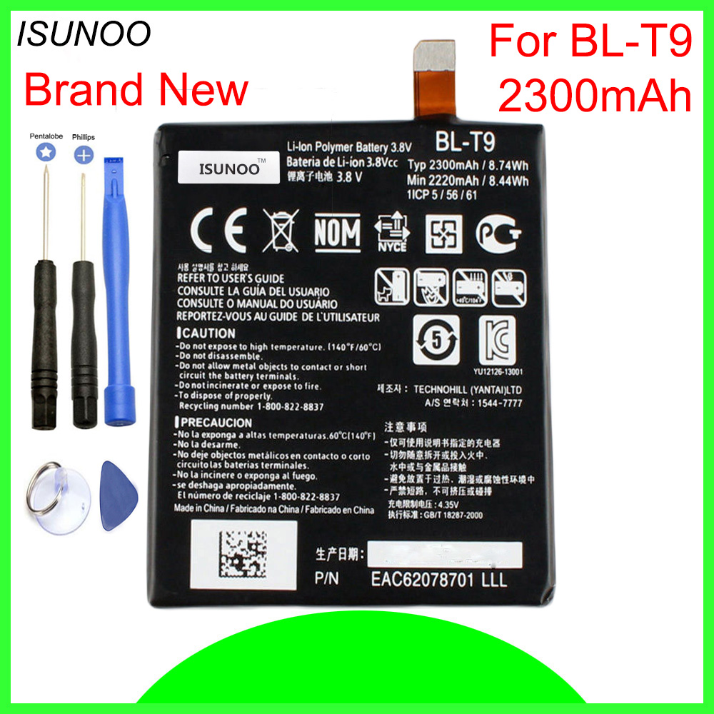 ISUNOO 2300mAh <font><b>BL</b></font>-<font><b>T9</b></font> <font><b>Battery</b></font> For LG Google Nexus 5 D820/D821 <font><b>BL</b></font> <font><b>T9</b></font> Li-ion <font><b>Battery</b></font> 3.8V With Repair Tools image