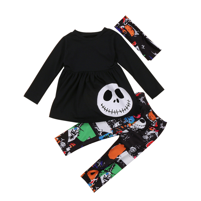 Toddler Kids Baby Girls Autumn Outfits Clothes T-shirt Tops+ Leggings Pants 2017 Halloween 3PCS
