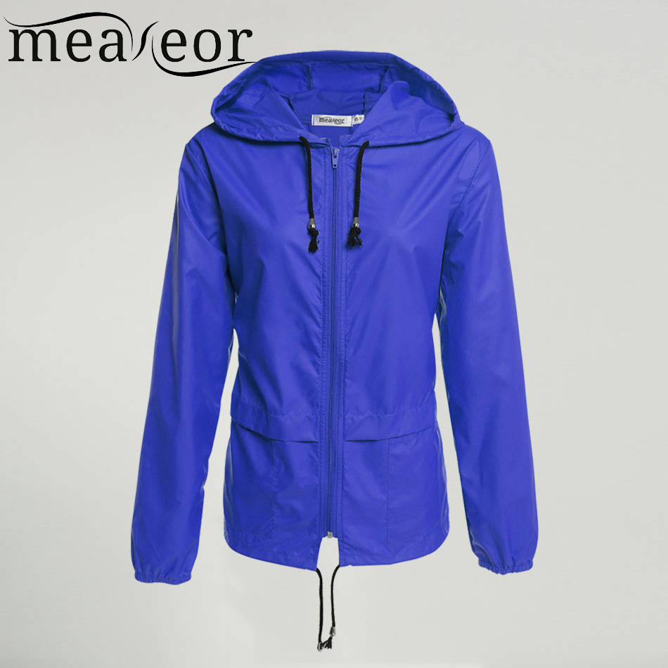 Meaneor autumn coat Women Hooded Jacket 2017 winter thin long sleeve Waterproof casual outcoat Outwear Plus size S,M,L,XL,XXL