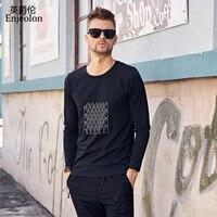 Enjeolon marka kalite o boyun uzun kollu t gömlek adam pamuk baskı taban Giyim Üstleri Tee ücretsiz gemi RST8069-1