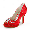EP11041-PF Bridesmaid Pumps Women Bridal Party Peep Toe Platforms Rhinestones Wedding Shoes