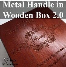 Novo selo personalizado com alça de metal, selo de cobre de cera de vedação retro na caixa de madeira com liga de cera de vedação presente diy antigo