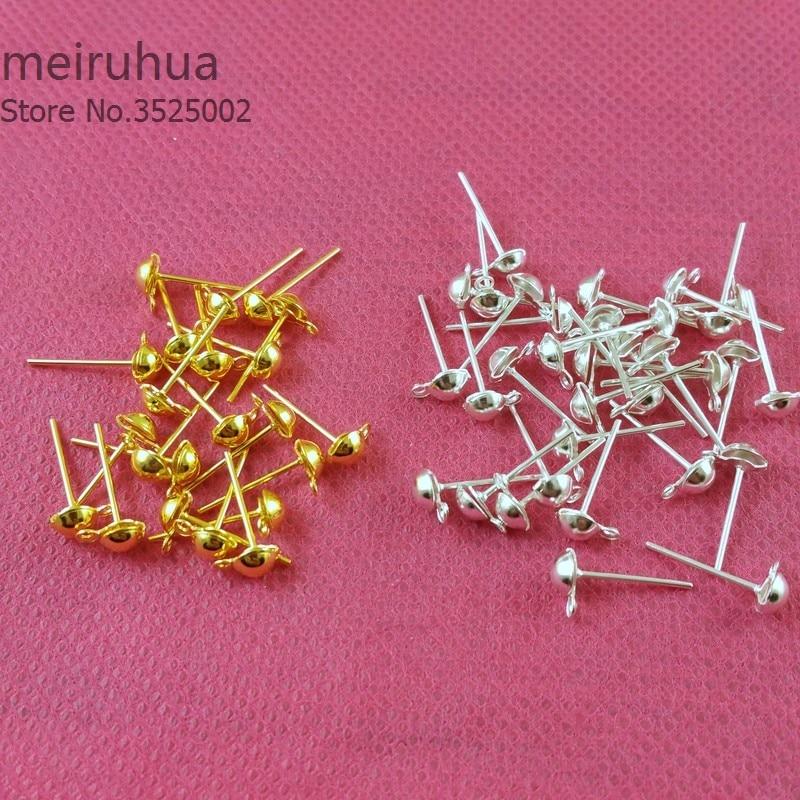 50pcs/lot 4mm Gold/Silver/Rhodium/Bronze Ear Stud Components Earrings Findings Pin 141751