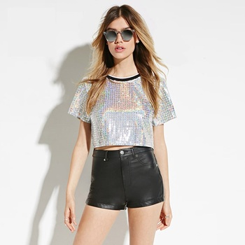 Summer Fashion Rock Bling Bling O Neck Short Sleeve Sequined Tee Shirt Silver Crop Tops T-Shirt Young Women Clothing Y0821-45D short dresses office wear