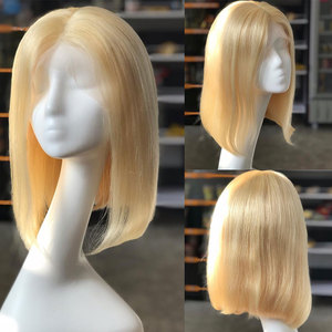 Image 3 - Rosabeauty HD Transparen 613 Ombre Blonde 13x6 Lace Front Human Hair Wigs Brazilian Short Bob Straight Remy Frontal Wig