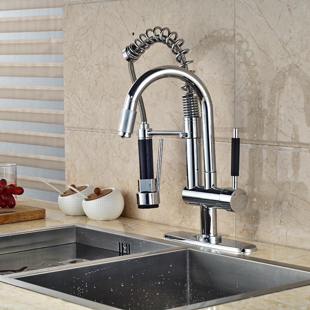 Chrome Brass Kitchen Faucet Spring 2 Spout Swivel Spout Mixer Tap W/ Cover Plate polished chrome brass vessel sink mixer tap kitchen faucet spring faucet dual swivel spout 8 cover plate