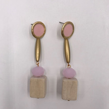 Kara&Kale Boho Fashion Jewelry Gothic Natural Wooden and Pink Glass Beads Drop Earings Vintage Gold Earrings For Women ED002