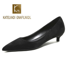 KATELVADI Women Shoes Comfort Casual Pumps Black Flock 3CM Low Heels Ladies for Wedding Plus Size 43  K-362